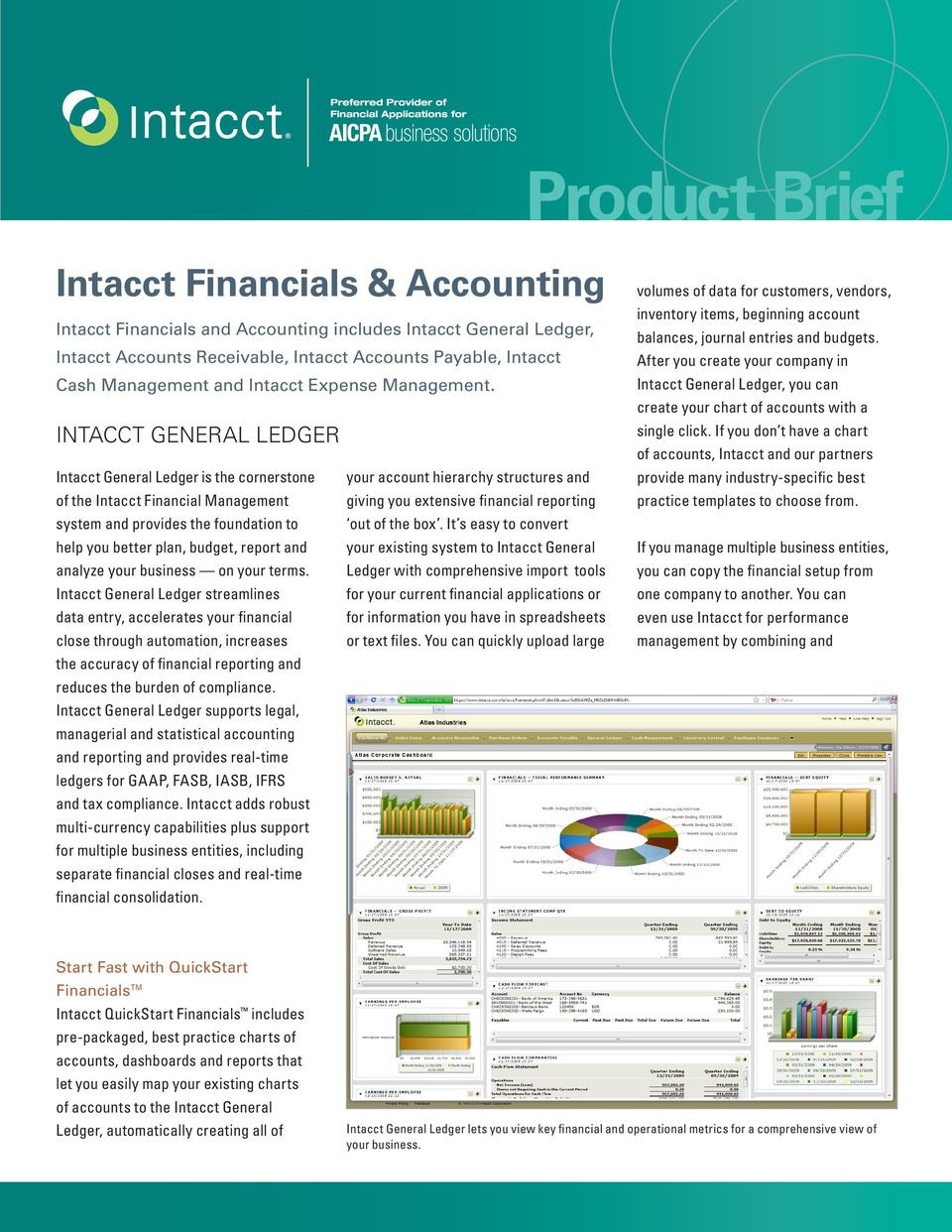 Intacct General Ledger Intacct General Ledger is the cornerstone your account hierarchy structures and of the Intacct Financial Management giving you extensive financial reporting system and provides
