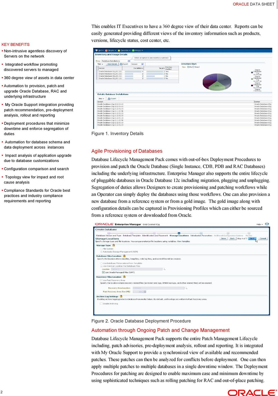 Integrated workflow promoting discovered servers to managed 360 degree view of assets in data center Automation to provision, patch and upgrade Oracle Database, RAC and underlying infrastructure My