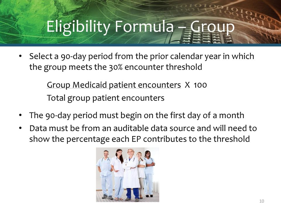 patient encounters The 90-day period must begin on the first day of a month Data must be from