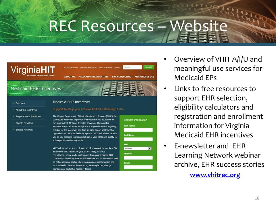 calculators and registration and enrollment information for Virginia Medicaid EHR