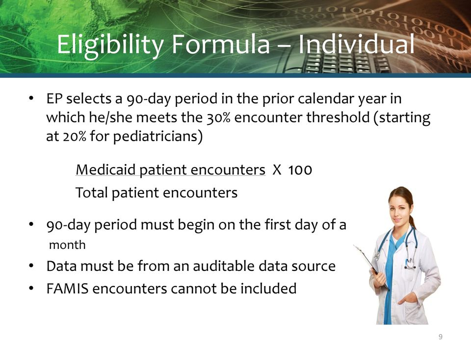 Medicaid patient encounters X 100 Total patient encounters 90-day period must begin on the