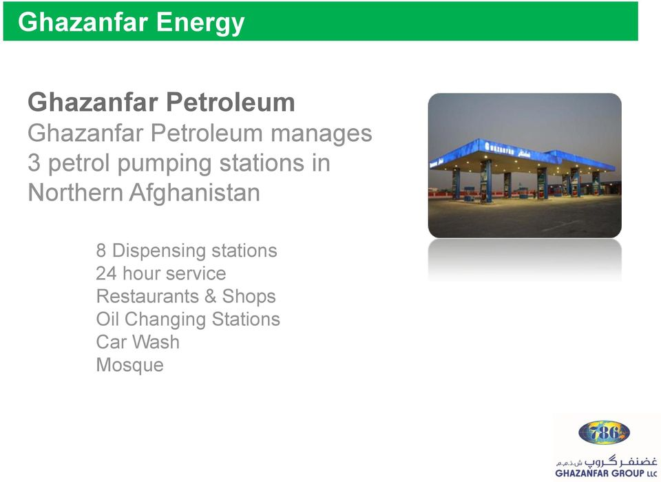 Northern Afghanistan 8 Dispensing stations 24 hour
