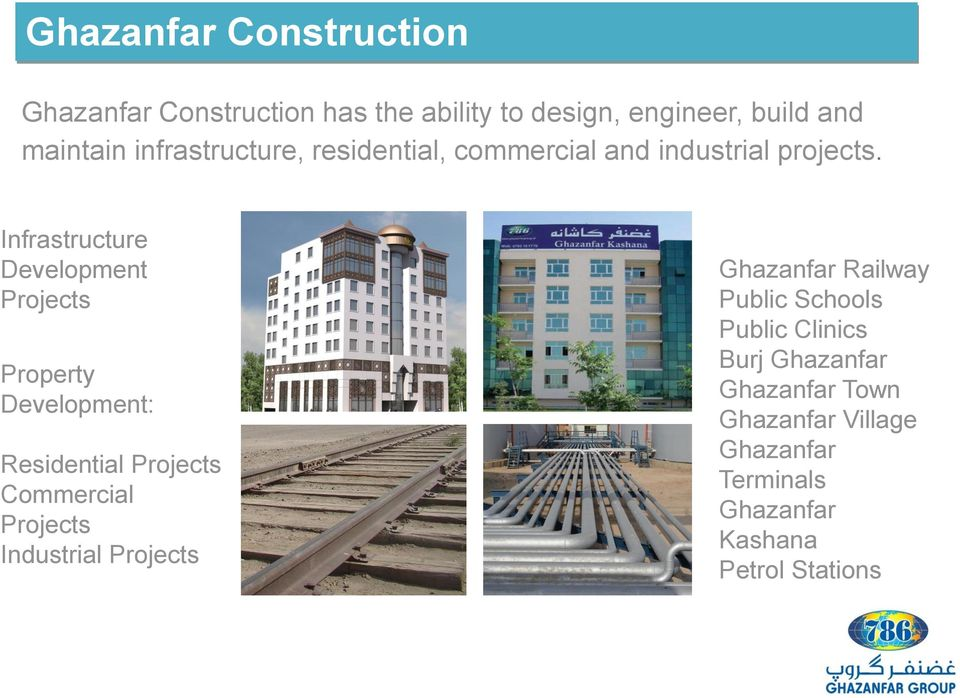 Infrastructure Development Projects Property Development: Residential Projects Commercial Projects