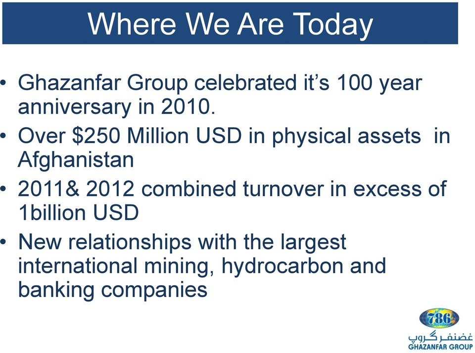 Over $250 Million USD in physical assets in Afghanistan 2011& 2012