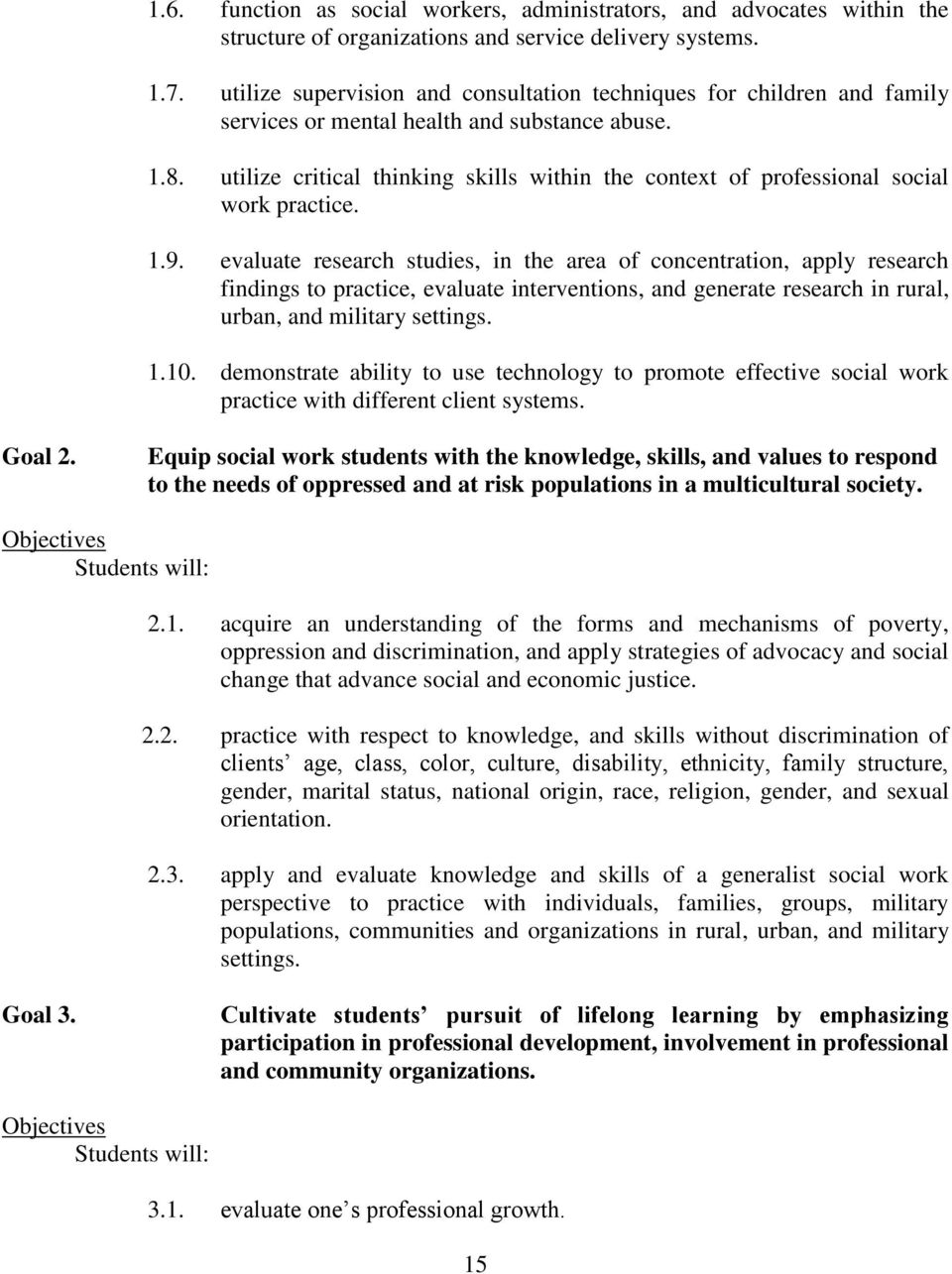 fayetteville state university master of social work program utilize critical thinking skills in the context of professional social work practice 1 9