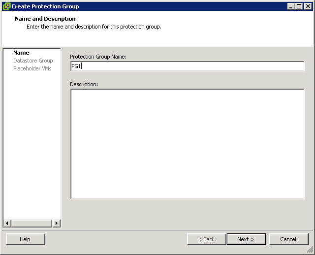 Installation and Configuration 1. In the main window of the VirtualCenter client connected to the primary (protected) site, click Create Protection Group.