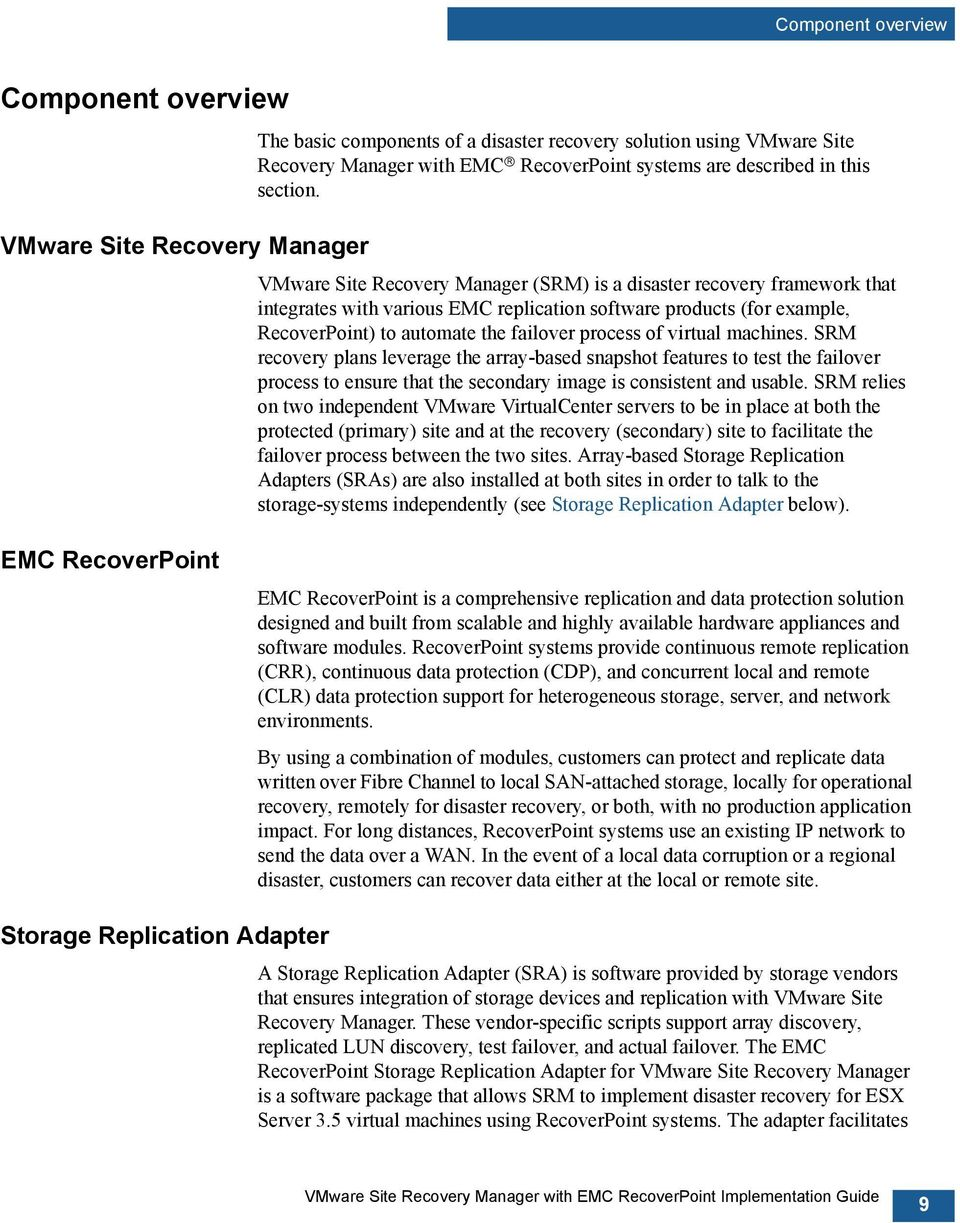 VMware Site Recovery Manager (SRM) is a disaster recovery framework that integrates with various EMC replication software products (for example, RecoverPoint) to automate the failover process of