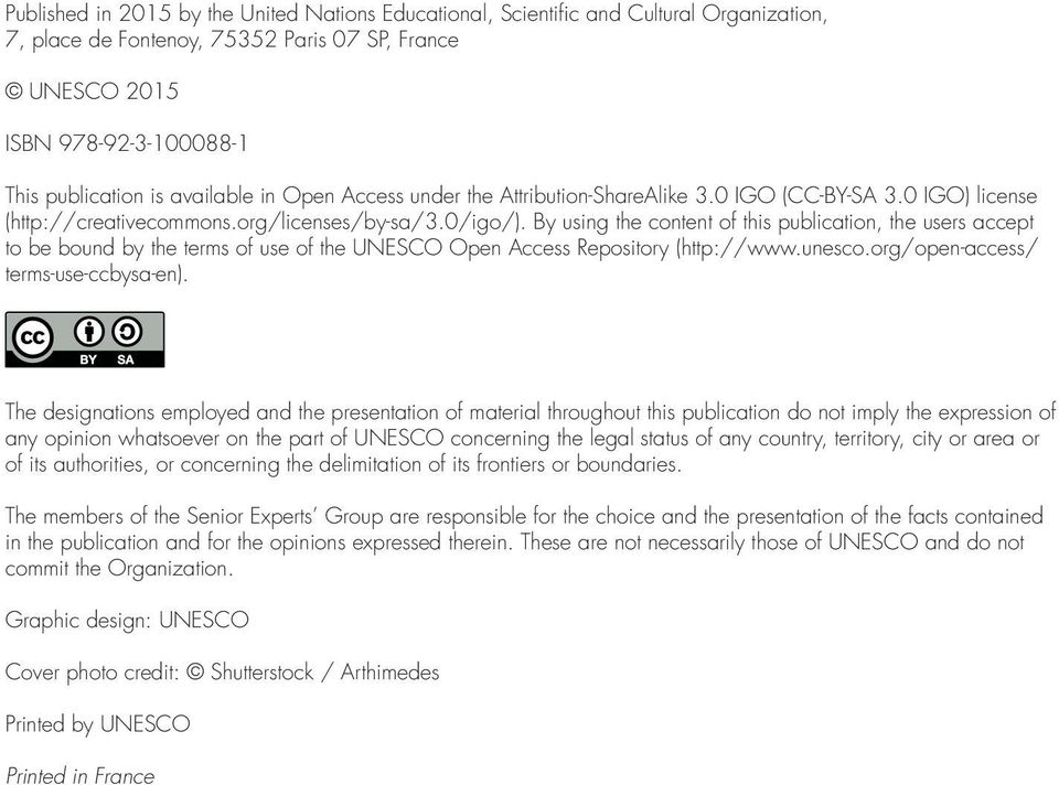 By using the content of this publication, the users accept to be bound by the terms of use of the UNESCO Open Access Repository (http://www.unesco.org/open-access/ terms-use-ccbysa-en).