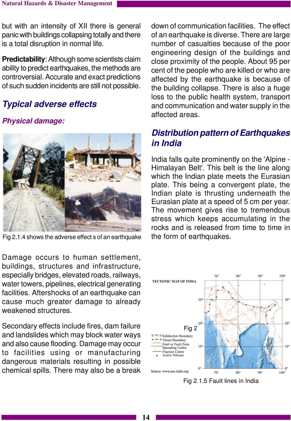 Typical adverse effects Physical damage: Fig 2.1.4 shows the adverse effect s of an earthquake down of communication facilities. The effect of an earthquake is diverse.