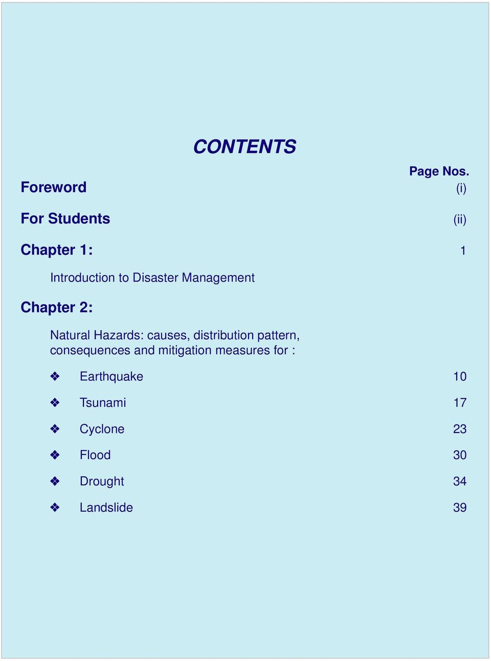2: Natural Hazards: causes, distribution pattern, consequences and
