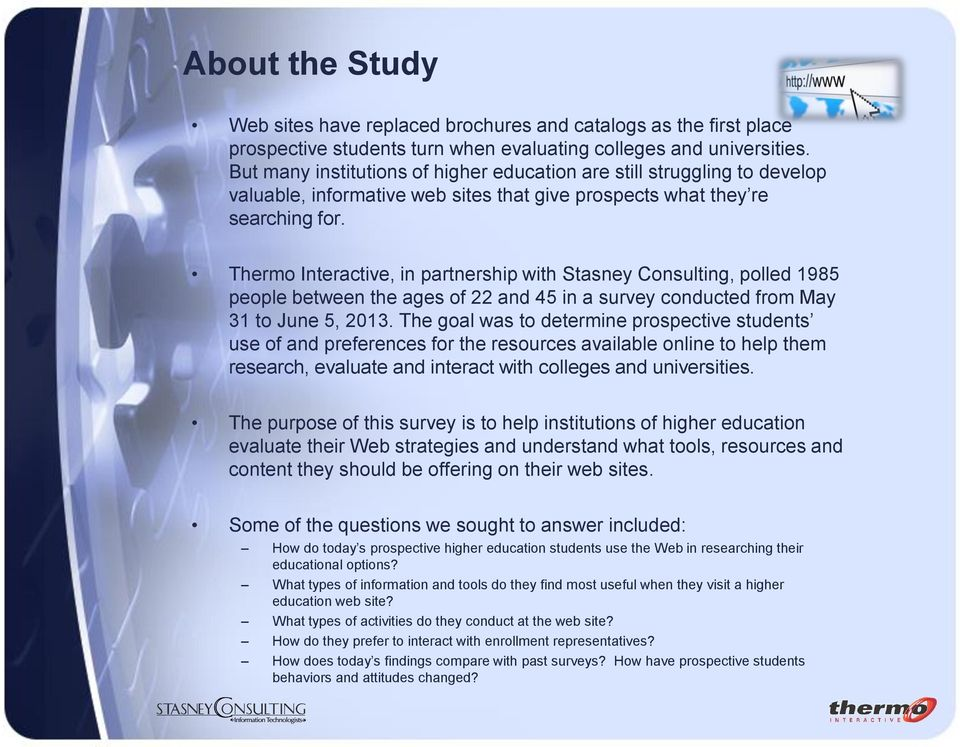 Thermo Interactive, in partnership with Stasney Consulting, polled 1985 people between the ages of 22 and 45 in a survey conducted from May 31 to June 5, 2013.