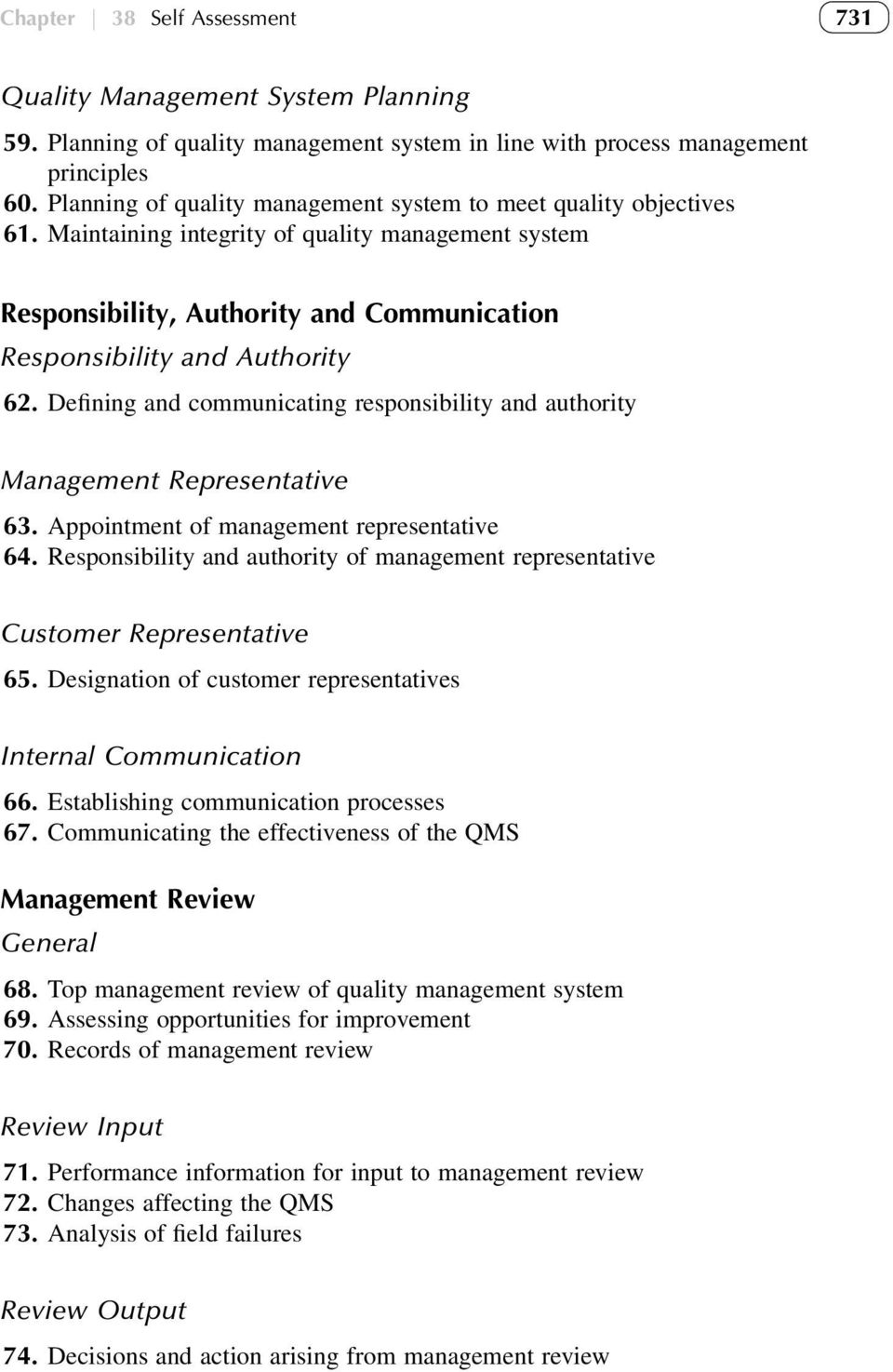 Defining and communicating responsibility and authority Management Representative 63. Appointment of management representative 64.