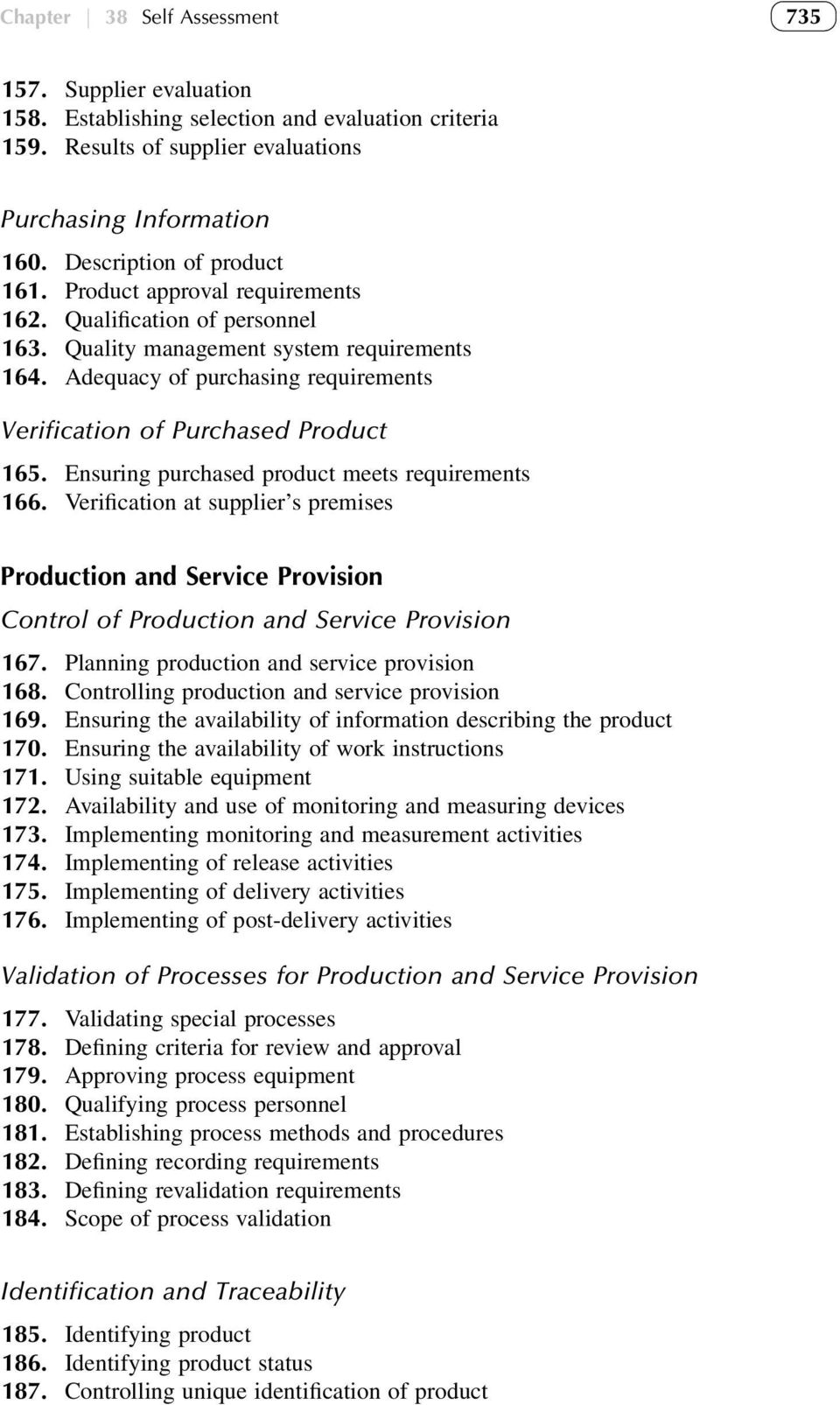 Adequacy of purchasing requirements Verification of Purchased Product 165. Ensuring purchased product meets requirements 166.