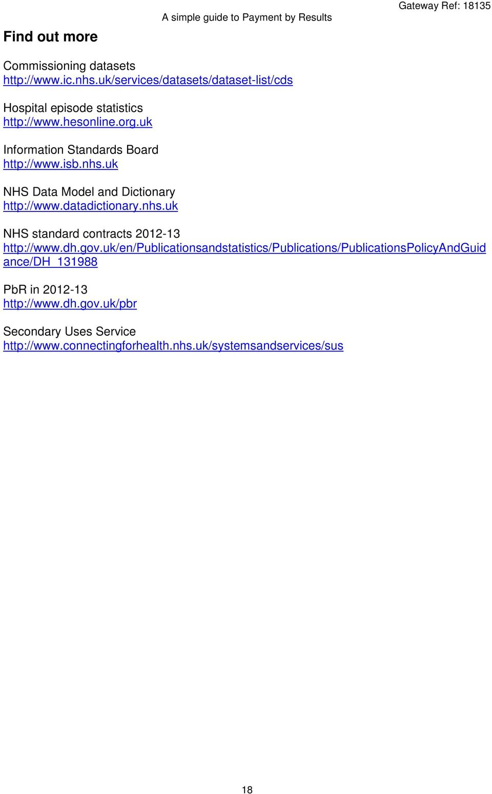 nhs.uk NHS Data Model and Dictionary http://www.datadictionary.nhs.uk NHS standard contracts 2012-13 http://www.dh.gov.