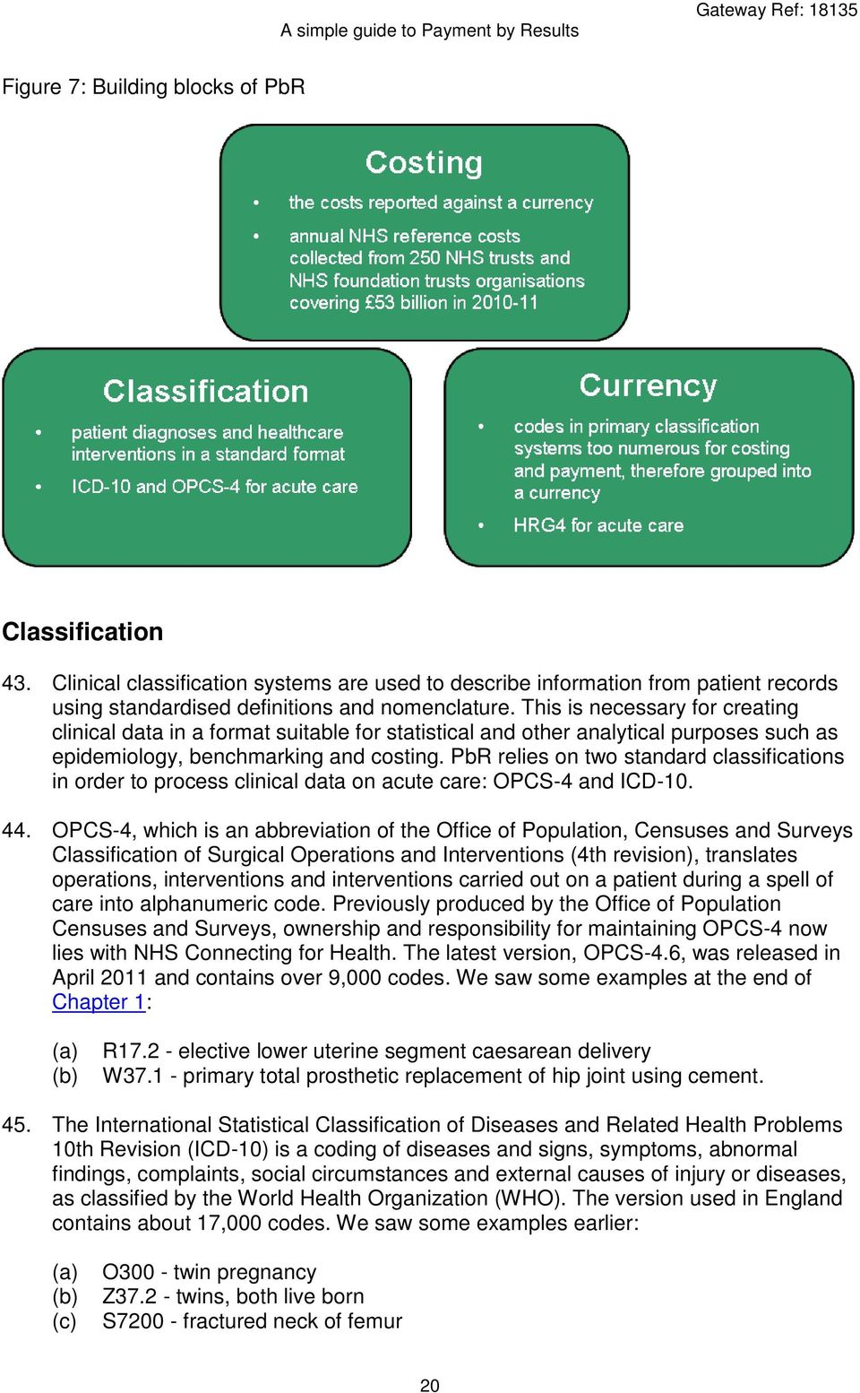 PbR relies on two standard classifications in order to process clinical data on acute care: OPCS-4 and ICD-10. 44.