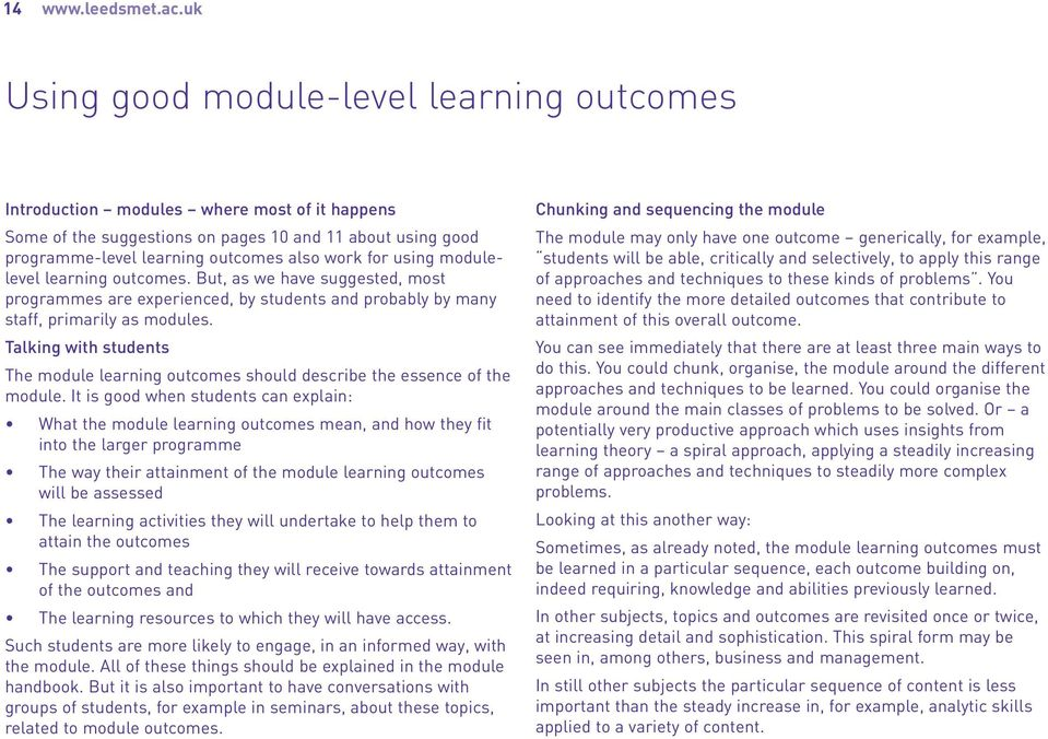 using modulelevel learning outcomes. But, as we have suggested, most programmes are experienced, by students and probably by many staff, primarily as modules.