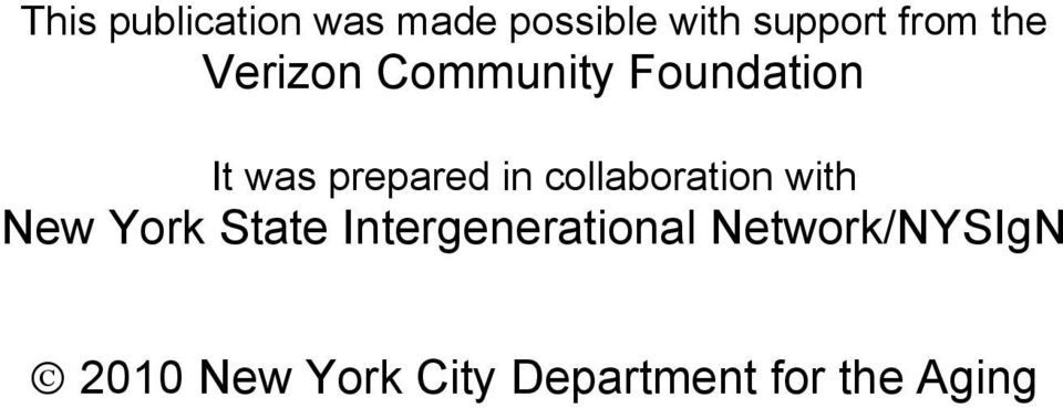 collaboration with New York State Intergenerational