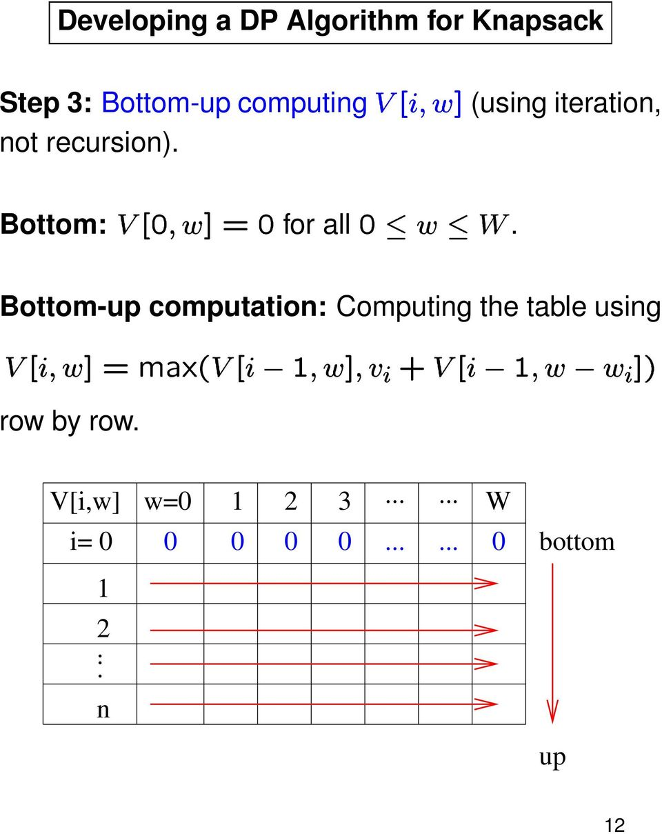 "Bottom-up computation: Computing the table using 1 2< 8 6H; @ AMBED 1 2< = "" 6"