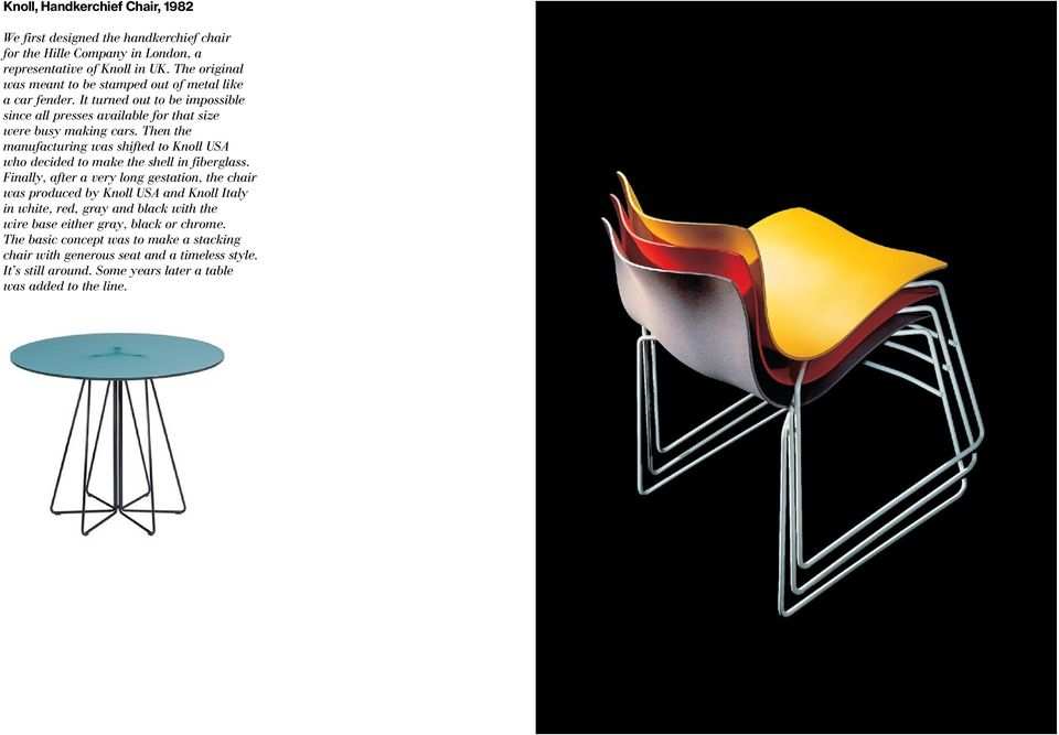 Then the manufacturing was shifted to Knoll USA who decided to make the shell in fiberglass.