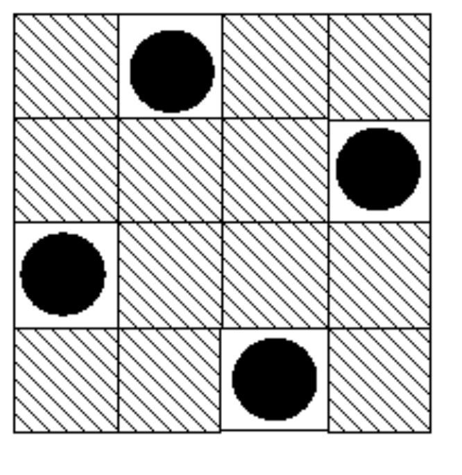 PEACEFUL QUEENS In a game of chess, a queen is able to move any number of squares in an orthogonal direction (up, down, left or right) or diagonally and can capture any piece that blocks its line of