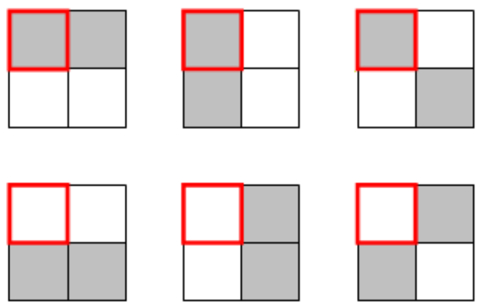 QUARTER SQUARE A square is split into four smallers squares and exactly two of these smaller squares are shaded. For example, the top left and bottom right squares could be shaded.