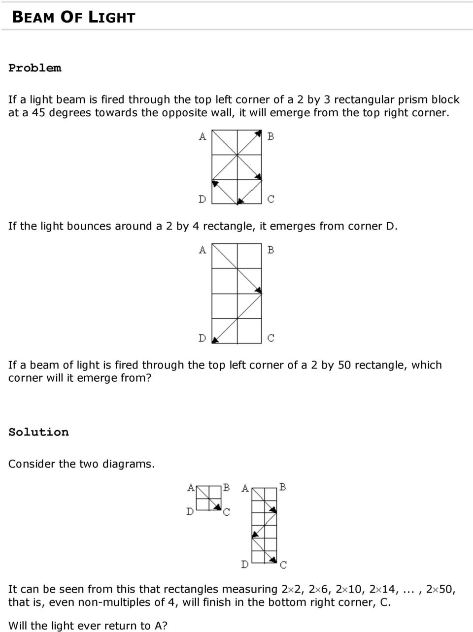 If a beam of light is fired through the top left corner of a 2 by 50 rectangle, which corner will it emerge from? Consider the two diagrams.