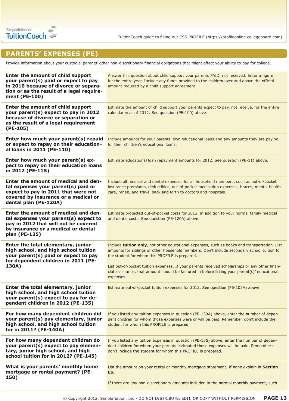 Worksheet guidelines why use this tool how does the css profile parents expect to pay in 201 because of divorce or separation or as falaconquin
