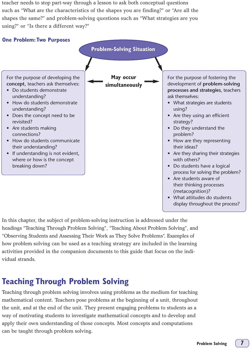 One Problem: Two Purposes Problem-Solving Situation For the purpose of developing the concept, teachers ask themselves: Do students demonstrate understanding?