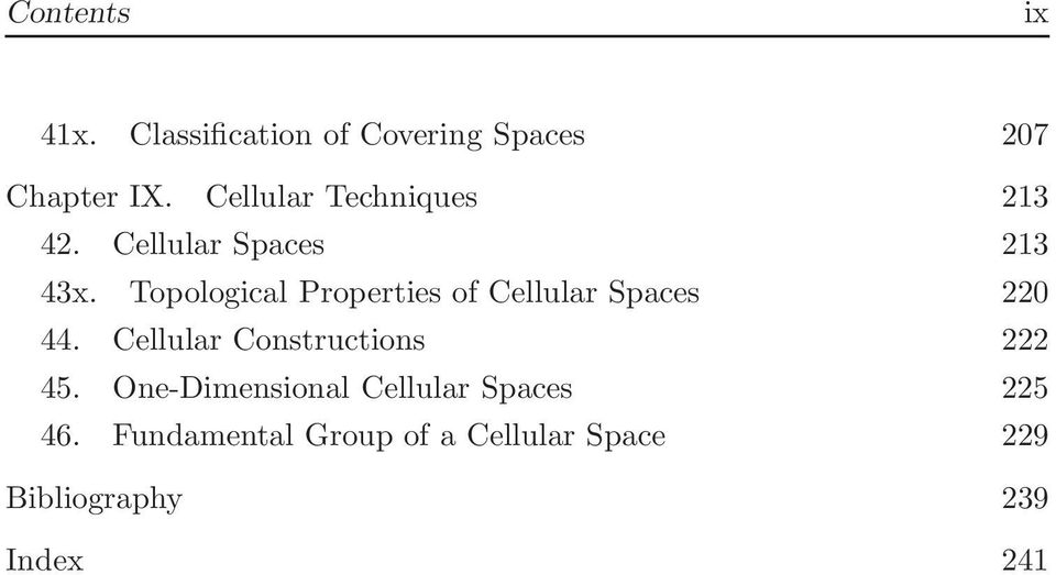 Topological Properties of Cellular Spaces 220 44.