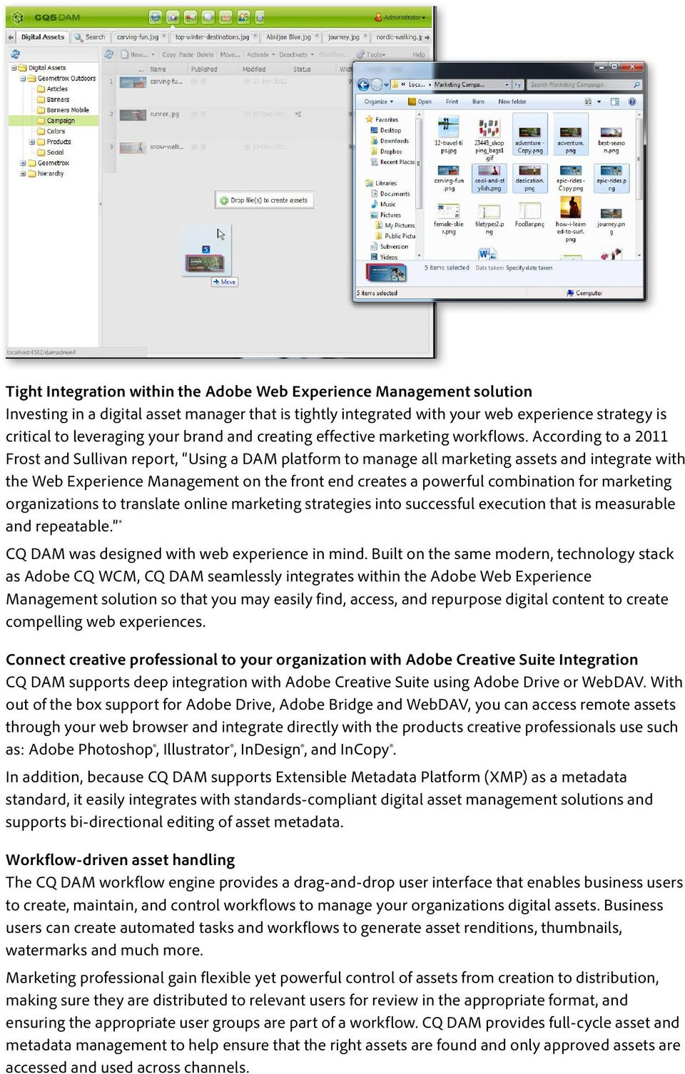 According to a 2011 Frost and Sullivan report, Using a DAM platform to manage all marketing assets and integrate with the Web Experience Management on the front end creates a powerful combination for