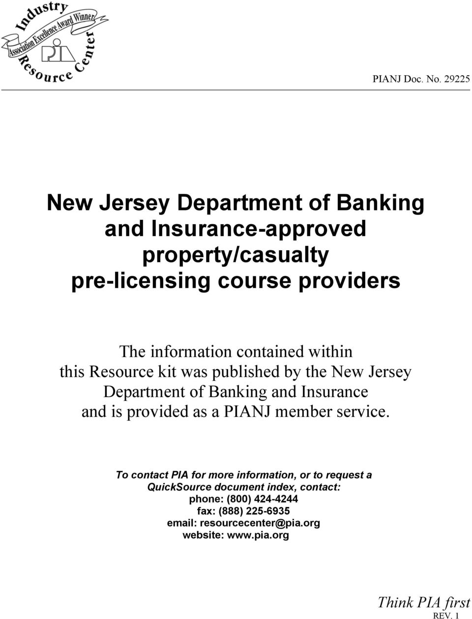 information contained within this Resource kit was published by the New Jersey Department of Banking and Insurance and is