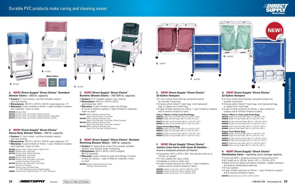 and materials, mesh or solid #A1548 Shower Chair #A1545 Shower Chair, Commode, Folding Footrest #A1546 Shower Chair, Commode, Folding Footrest, Safety Belt #A1547 Shower Chair, Commode, Folding