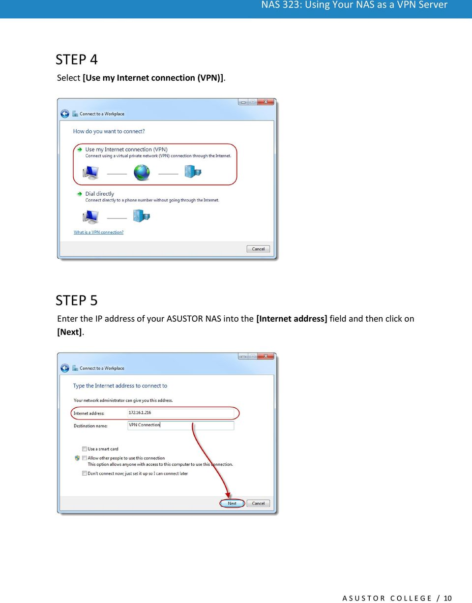 STEP 5 Enter the IP address of your ASUSTOR NAS