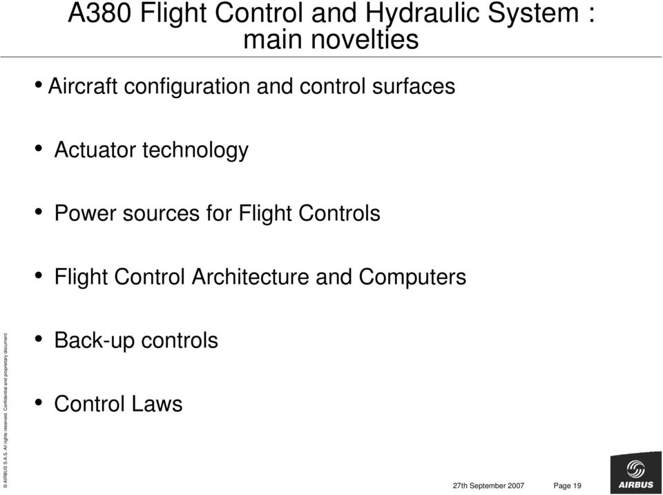 Power sources for Flight Controls Flight Control Architecture