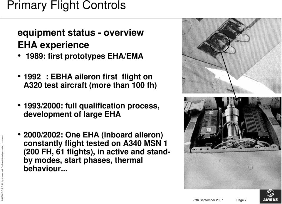 development of large EHA 2000/2002: One EHA (inboard aileron) constantly flight tested on A340 MSN 1 (200