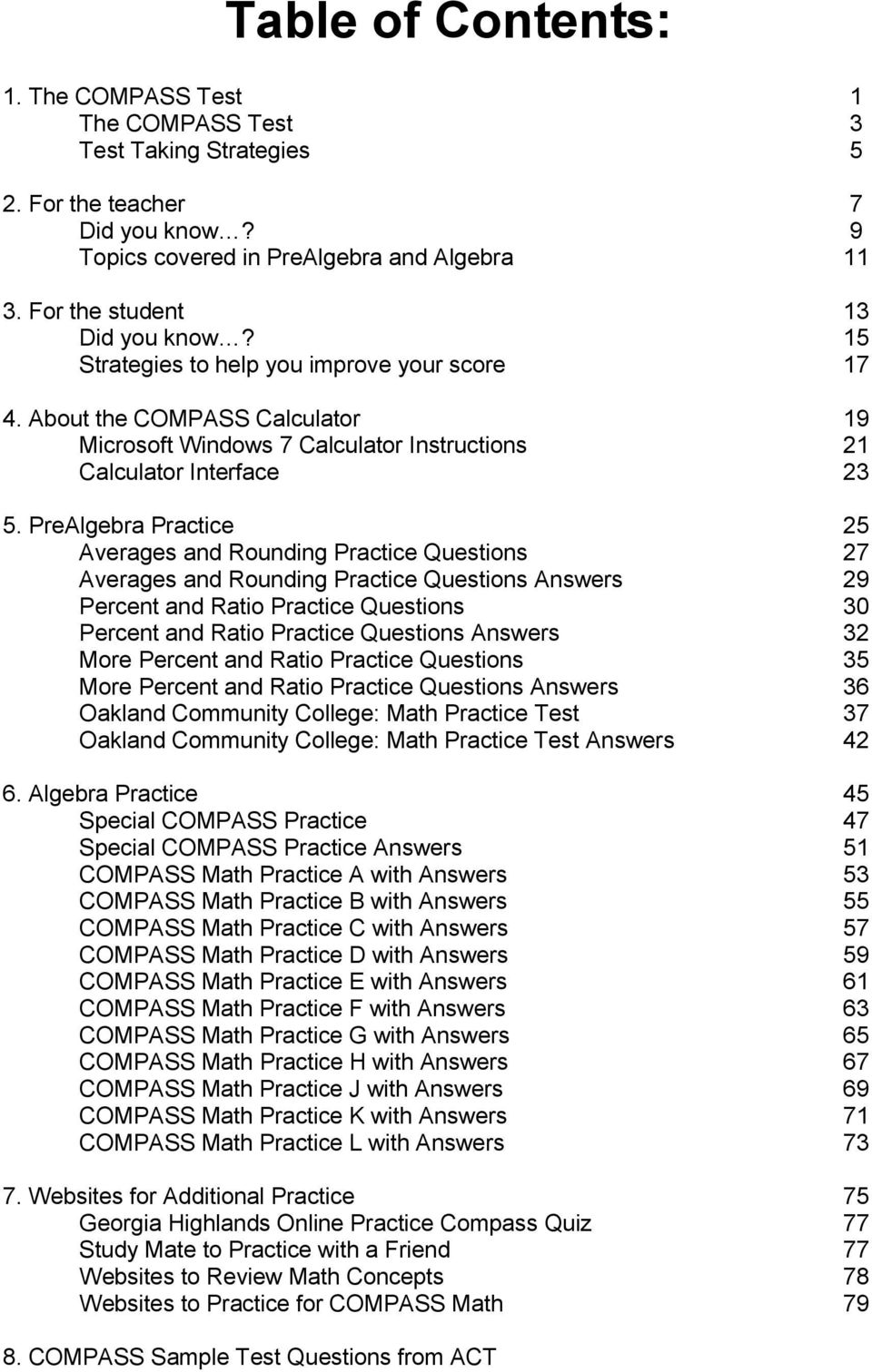 COMPASS Placement Test Preparation Packet - PDF