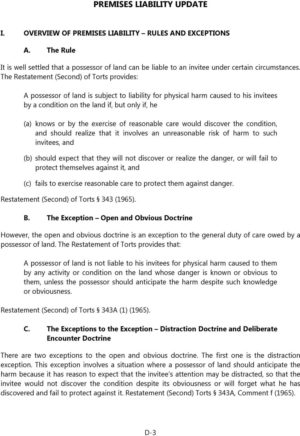 Restatement of the Law Second Torts
