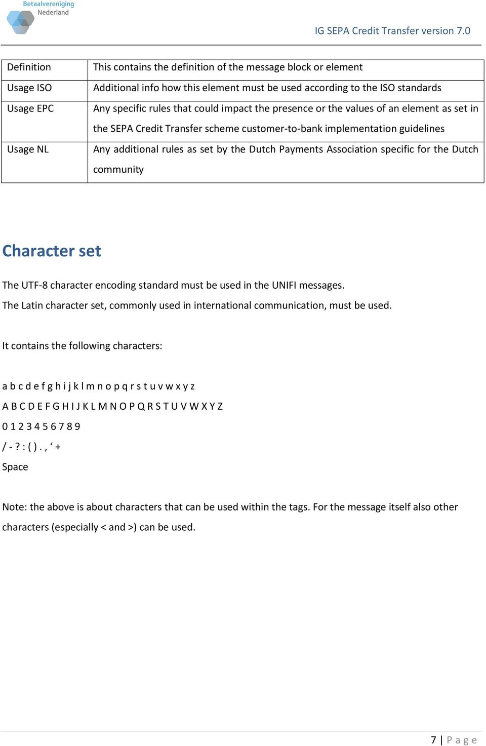Association specific for the Dutch community Character set The UTF-8 character encoding standard must be used in the UNIFI messages.