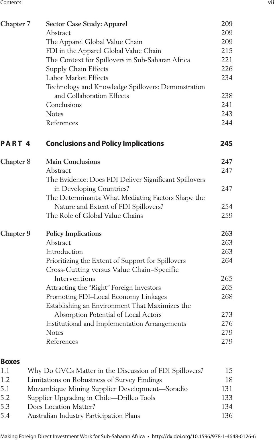Policy Implications 245 Chapter 8 Main Conclusions 247 Abstract 247 The Evidence: Does FDI Deliver Significant Spillovers in Developing Countries?