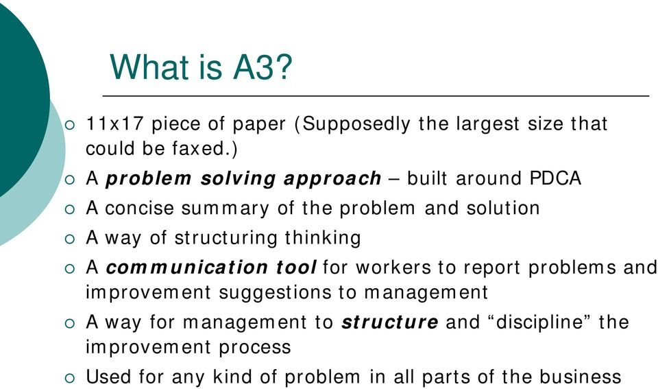 structuring thinking A communication tool for workers to report problems and improvement suggestions to