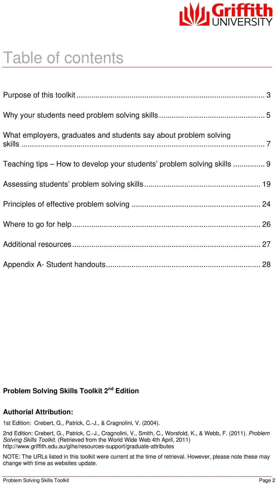 .. 26 Additional resources... 27 Appendix A- Student handouts... 28 Problem Solving Skills Toolkit 2 nd Edition Authorial Attribution: 1st Edition: Crebert, G., Patrick, C.-J., & Cragnolini, V.