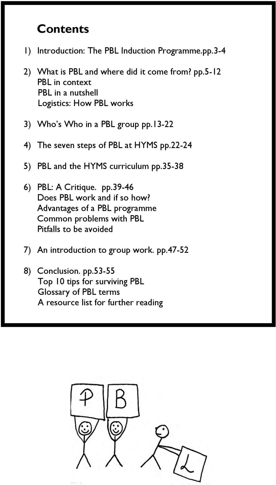 22-24 5) PBL and the HYMS curriculum pp.35-38 6) PBL: A Critique. pp.39-46 Does PBL work and if so how?