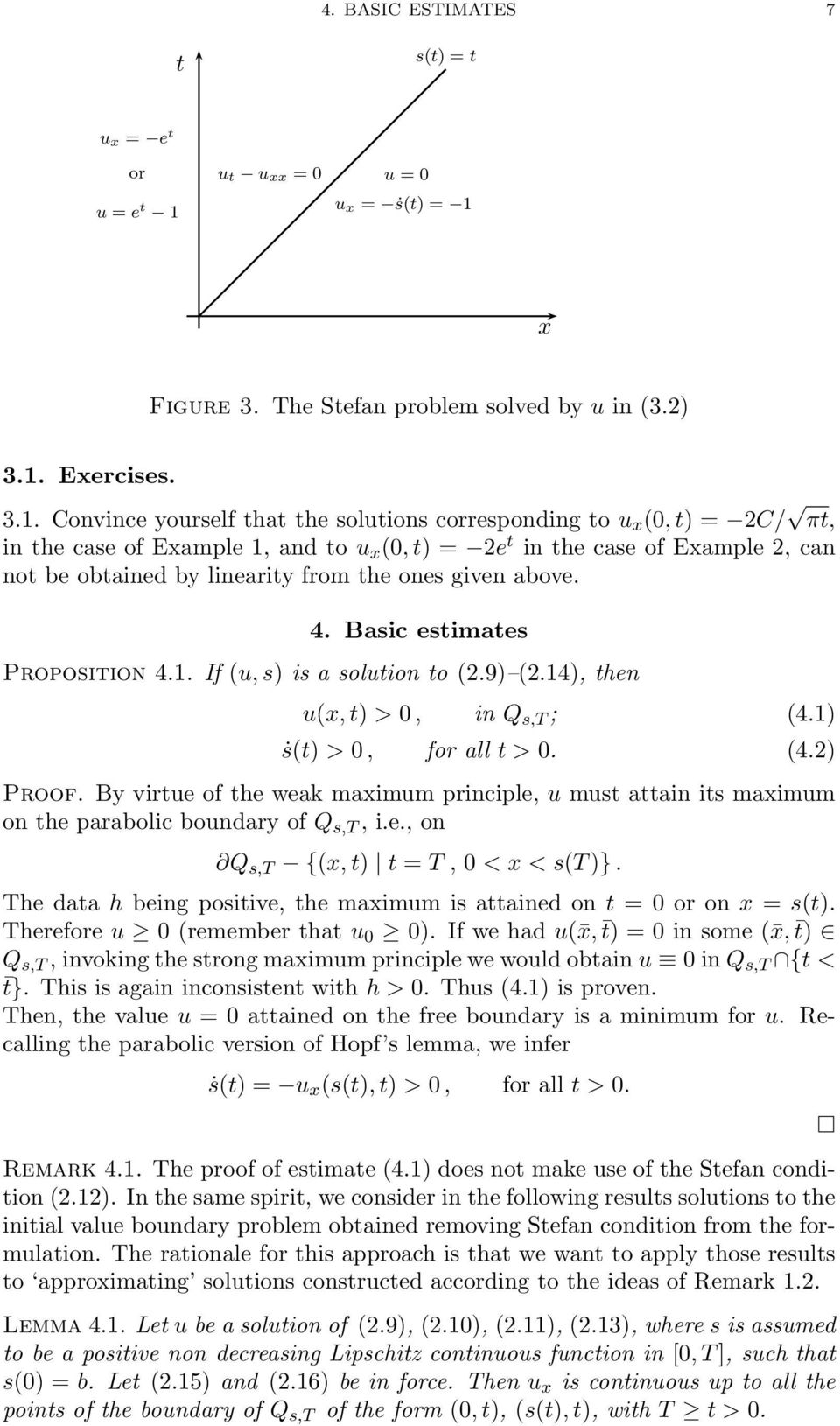 x Figure 3. The Stefan problem solved by u in (3.2) 3.1.