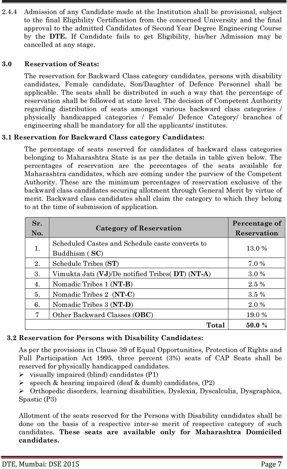 0 Reservation of Seats: The reservation for Backward Class category candidates, persons with disability candidates, Female candidate, Son/Daughter of Defence Personnel shall be applicable.