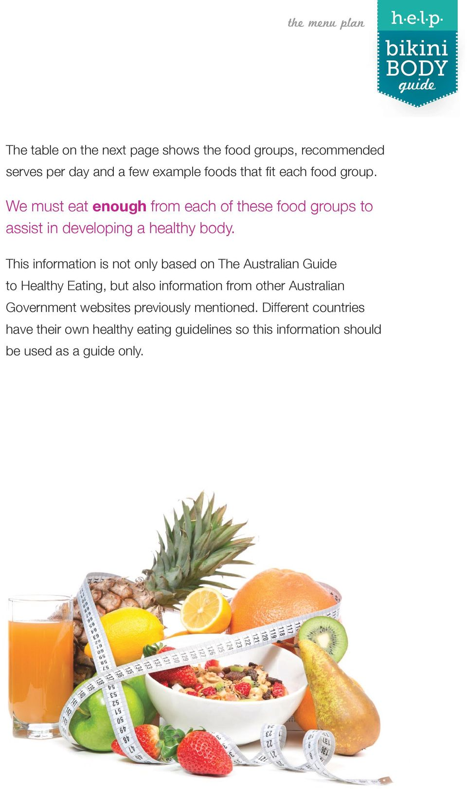 This information is not only based on The Australian Guide to Healthy Eating, but also information from other Australian