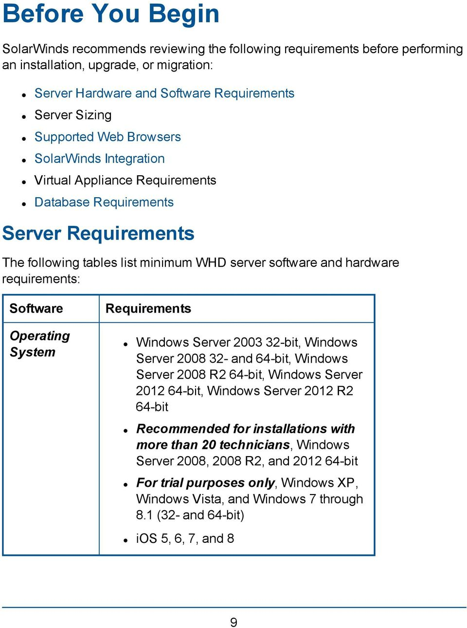 Operating System Requirements Windows Server 2003 32-bit, Windows Server 2008 32- and 64-bit, Windows Server 2008 R2 64-bit, Windows Server 2012 64-bit, Windows Server 2012 R2 64-bit Recommended for