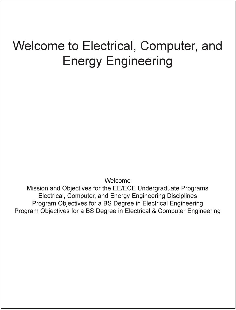 Energy Engineering Disciplines Program Objectives for a BS Degree in