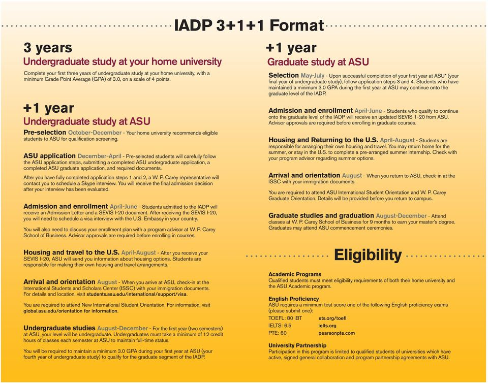 ASU application December-April - Pre-selected students will carefully follow the ASU application steps, submitting a completed ASU undergraduate application, a completed ASU graduate application, and