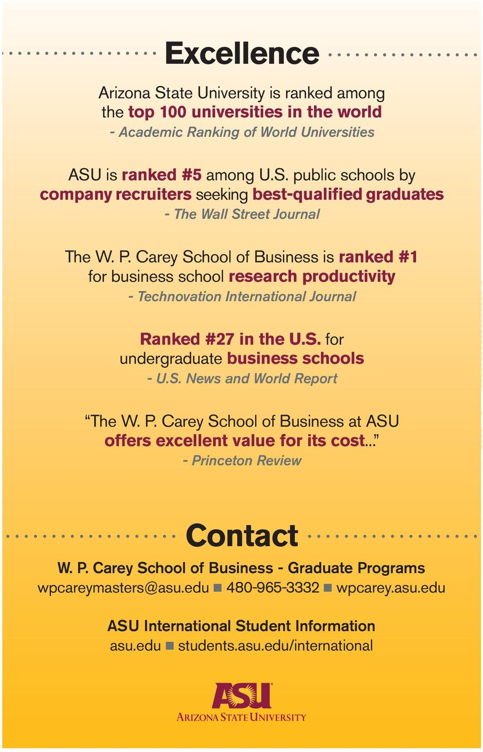 P. Carey School of Business at ASU offers excellent value for its cost... - Princeton Review Contact W. P. Carey School of Business - Graduate Programs wpcareymasters@asu.