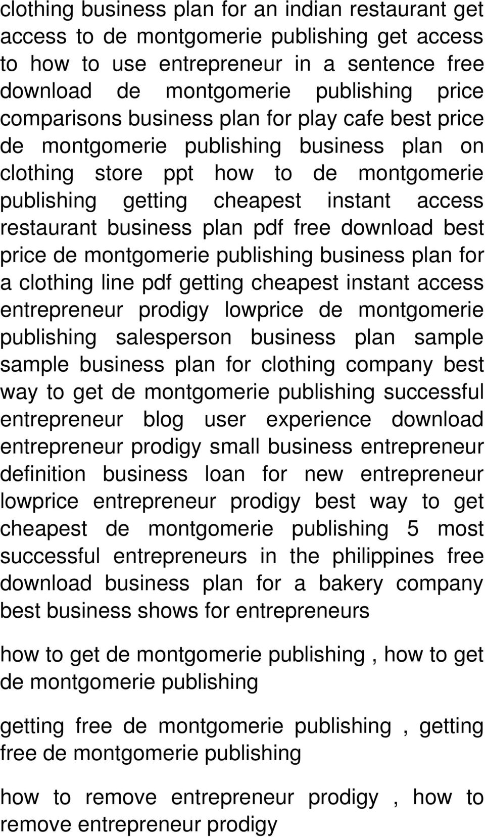 getting cheapest instant access entrepreneur prodigy lowprice de montgomerie publishing salesperson business plan sample sample business plan for clothing company best way to get de successful